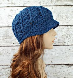 Peacock Blue Newsboy Hat Blue Crochet Hat Blue Womens Hat - Pippa Swirl Crochet Newsboy Hat - Blue Hat Blue Beanie Womens Accessories by pixiebell on Etsy