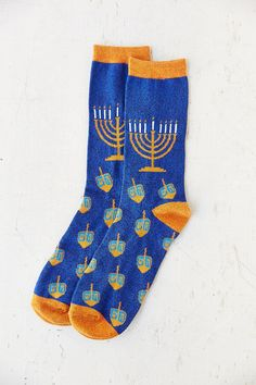 Menorah And Dreidels Sock - Urban Outfitters