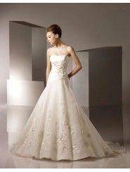 Mermaid Organza Asymmetrical Ruched Bodice Softly Curved Neckline Chapel Length Train Wedding Dresses (2117)