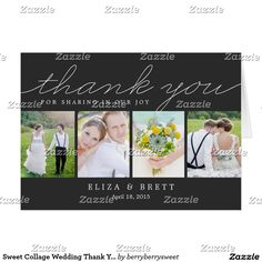 Shop Sweet Collage Wedding Thank You Card - Charcoal created by berryberrysweet. Personalize it with photos & text or purchase as is! Wedding Thank You Postcards, Wedding Postcard, Wedding Cards, Wedding Album, Thank You Photos, Photo Thank You Cards, Photo Cards, Vintage Country Weddings, Monogram Wedding Invitations