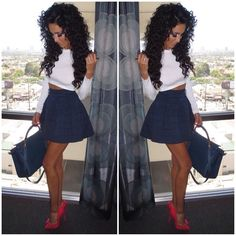"Sexy chic. Wearing the ""Lola Skirt"" in Navy from www.WantMyLook.com @wantmylook Direct link #lillyghalichi profile!"