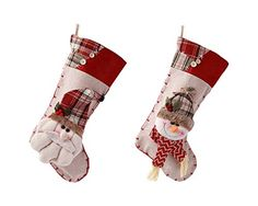 2pc Vintage Christmas Stockings Santa Claus  Snowman Candy Sack Stocks Fillers >>> You can find more details by visiting the image link.