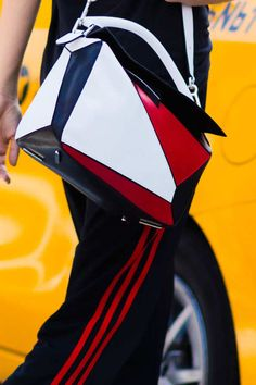 LOEWE's Puzzle Bag White / Red / Black seen in New York's Fashion Week.