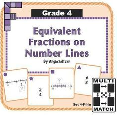 This set of 36 printable cards will help students learn to write equivalent fractions using number line models. Each card set comes with a recording sheet, brief game instructions, and a card storage pocket. Try Multi-Match games! ~by Angie Seltzer