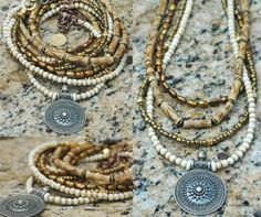 Beautiful Natural Ivory, White and Bronze Long Multi-Strand Everyday Necklace…