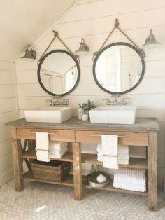 125 Brilliant Farmhouse Bathroom Vanity Remodel Ideas (115)