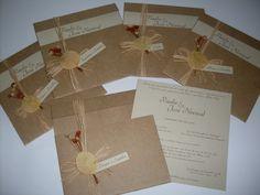Convite de casamentro em papel kraft (envelope) e natural plus (interno).