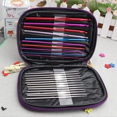 22 piece Crochet hook set in a faux leather zip by TySiriolCrafts