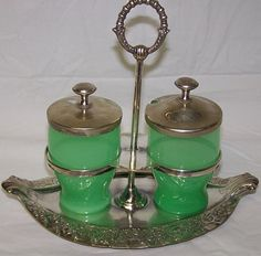 Vintage Steuben Stevens & Williams jade green condiment set silver plate holder