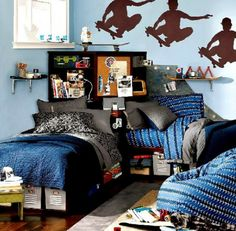 I like the skateboard part of this room. Not digging the paint or beds..