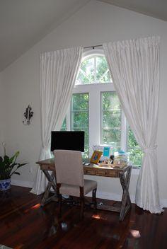 Master bedroom - custom made draperies, wood writing desk, upholstered wood desk chair