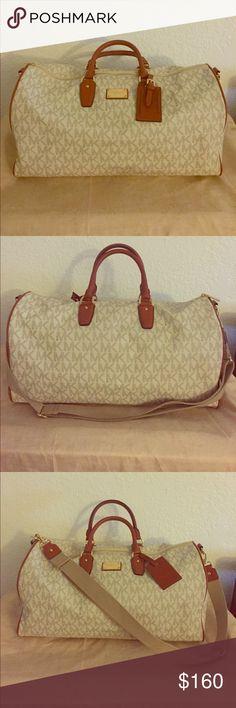 Michael Kors Travel Duffle Vanilla signature MK travel duffle with cross-baby strap Michael Kors Bags Travel Bags