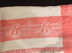 """~* Vintage 1950's Cotton Table Cloth Dutch Wife Husband Windmill Pink 52""""x54""""  