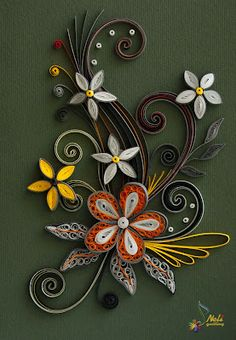 quilled postal in white, yellow, orange and green