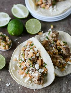 Jerk Shrimp Tacos with Spicy Melon Salsa I howsweeteats.com