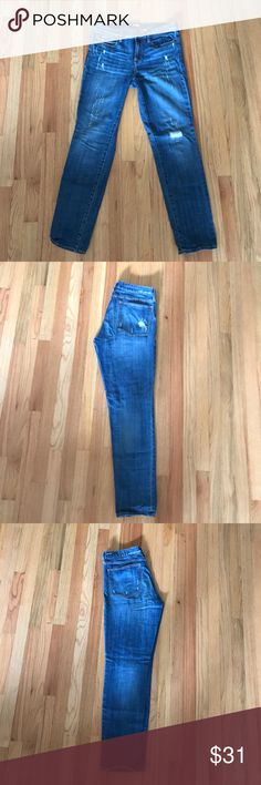 J. Crew distressed jeans A straighter skinny distressed J. Crew jeans. Stretchy and super comfortable! Medium wash for everyday wear. Gently worn. J. Crew Jeans Skinny