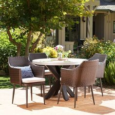 Nyla 5pc Wicker And Concrete Dining Set - Christopher Knight Home : Target Wicker Dining Set, 4 Dining Chairs, Outdoor Dining Furniture, Outdoor Dining Set, Patio Dining, Outdoor Decor, Beige Cushions, Concrete Table, Outdoor Settings