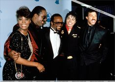 1986, Grammy Awards. M J looks happy here.  A good photo of some of the greats.