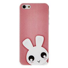 Cute Bunny Pattern Transparent Frame Hard Case for iPhone 5/5S – USD $ 2.99