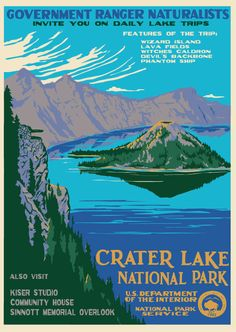 Crater Later National Park. Orignial work by Doug Leen, based on the style of the WPA-era classics.  #poster #vintage #screenprint #parks Vintage National Park Posters, Voyage Usa, Wpa Posters, Image Deco, Crater Lake National Park, National Parks Usa, Park Art, Park Service, Vintage Travel Posters