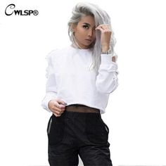 Sexy Sweatshirt Women Long Sleeve Holes Hollow Out Crop Top Midriff Women Hoodies Sweatshirt