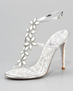 Rene Caovilla floral-strap sandal with Swarovski crystals. #shoes