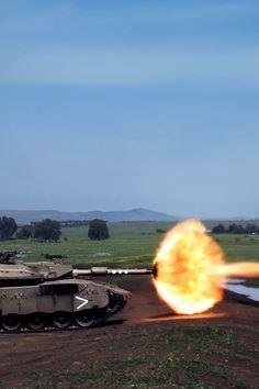 Modern tank firing the main gun