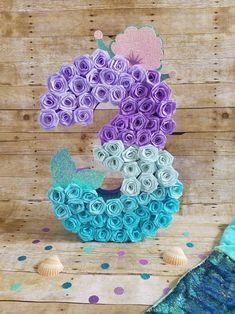 Inspire your Party ® Mermaid Theme Birthday, Birthday Diy, Birthday Party Themes, Mermaid Party Decorations, Diy Birthday Decorations, Mermaid Pinata, Little Mermaid Parties, Number 3, Crepe Paper