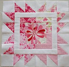 Uses a slightly altered version of Hanies tutorial. Creator thought it was such a neat and colorful block–  changed it just slightly to allow for the fussy cut center.