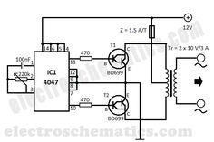 DIY 12V to 220V DC to AC converter built with CMOS 4047