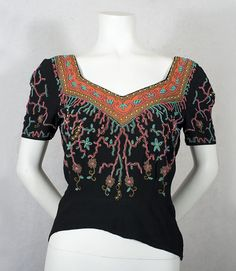 Beaded crepe evening blouse, c.1939