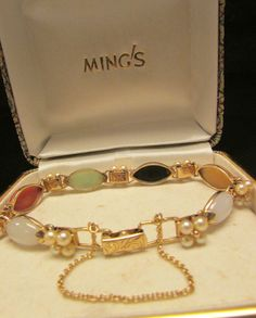 Vintage Estate Ming's of Honolulu 14K Multi Color Jade Pearl Bracelet by Alohamemorabilia