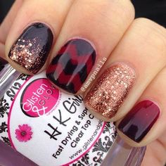 Burgundy & Copper Glitter Nail Design