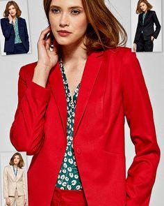 Veste blazer fleurie rouge