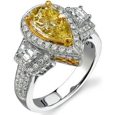 3.50 ct Pear Shaped Fancy Yellow Diamond Ring 14k White and Yellow Gold from #JahanDiamonds #Fancydiamonds
