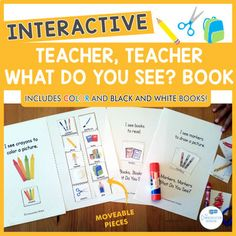 Interactive, adapted book with a school theme perfect for preschool speech therapy and special ed classrooms. Black And White Books, Black White, Preschool Speech Therapy, Glue Book, Sentence Structure, What If Questions, What Do You See, School Themes, Interactive Notebooks