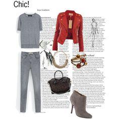 Look chic con chaqueta roja! by blogabrilmoda, via Polyvore