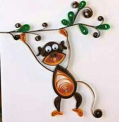 Hang in there greeting card - Quilled Monkey on Branch - Unique - boy pet girl Arte Quilling, Paper Quilling Patterns, Quilled Paper Art, Quilling Paper Craft, Quilling Designs, Diy Paper, Paper Crafts, Quilling Ideas, Origami