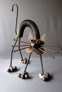 VINTAGE-Hand-Made-YARD-ART-CAT-Welded-Steel-Folk-Art-17-1-2-034-JUNK-SCULPTURE