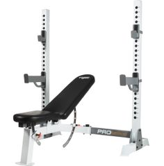 Made of a heavy-duty steel frame and 22 levels of adjustability, the Fitness Gear Pro Olympic Bench is designed to perform and withstand a lifetime of usage. This sturdy bench offers extra wide, flanged feet and reinforced connector plates for ultimate stability during strength training. Target different muscles with ease by adjusting and locking the seat and back pad into military press, flat, decline and incline positions.