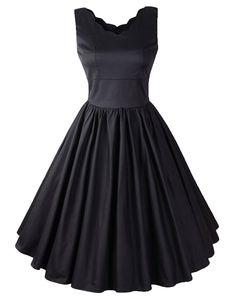 Wenseny Damen Kleid Ärmellos Vintage Retro Schwingen Rockabilly Petticoat Cocktailkleider Kleid: Amazon.de: Bekleidung