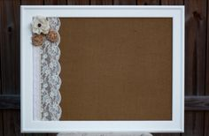 Rustic Burlap and Lace Magnetic Board 18 x by BurlapandLaceBoards, $63.00