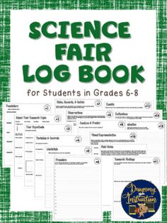 Science Fair Log Book - Middle School Grades Student Experiments - EDITABLE Incredible science fair resource for middle school students, science fair experiments, and science fair projects! Science Fair Experiments, Science Activities, Middle School Grades, Middle School Science, Science Fair Projects Boards, Scientific Method, Project Based Learning, Students, Education