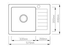 Laneo V575-44G Gránit Mosogató + Csap + Dugóemelő (grafit)