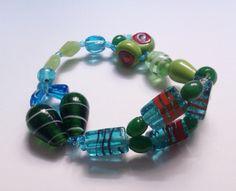 glass and acrylic beads elastic bracelet - sale price £4.00