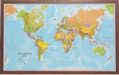 14 Best World Maps images | Wall maps, Cards, Framed maps