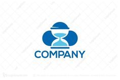 Logo for sale: Time Cloud Logo by SimplePixel, uploaded on Logo design of a cloud with a hourglass inside it. Logo Design, Company Logo, Clouds, Cloud