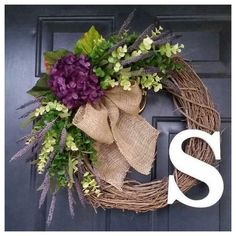 spring wreath, purple hydrangea wreath with greenery and burlap bow, housewarming, wedding, gift, mothers day, door wreath by AutumnWrenDesigns on Etsy https://www.etsy.com/transaction/1119292014