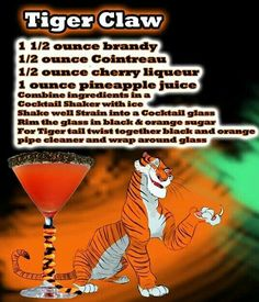 Combine ingredients in shaker w/ ice rim glass w/ black and orange sugar twist black and orange pipe cleaner on stem Party Drinks, Fun Drinks, Yummy Drinks, Beverages, Disney Themed Drinks, Disney Cocktails, Cocktail Shots, Cocktail Recipes, Alcholic Drinks