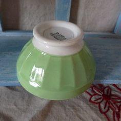 Adorable petit bol ancien en Digoin & Sarreguemines vert